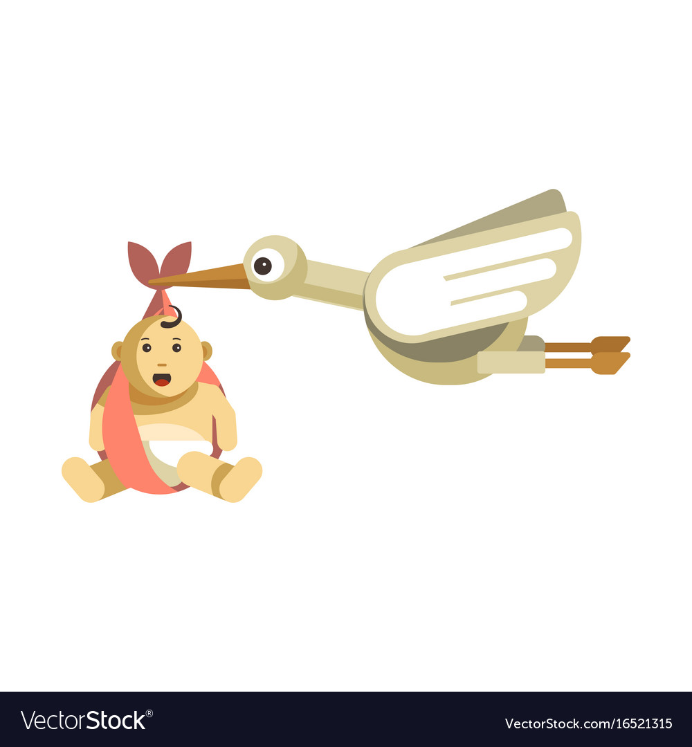 Funny stork with big eyes carries cute baby vector image