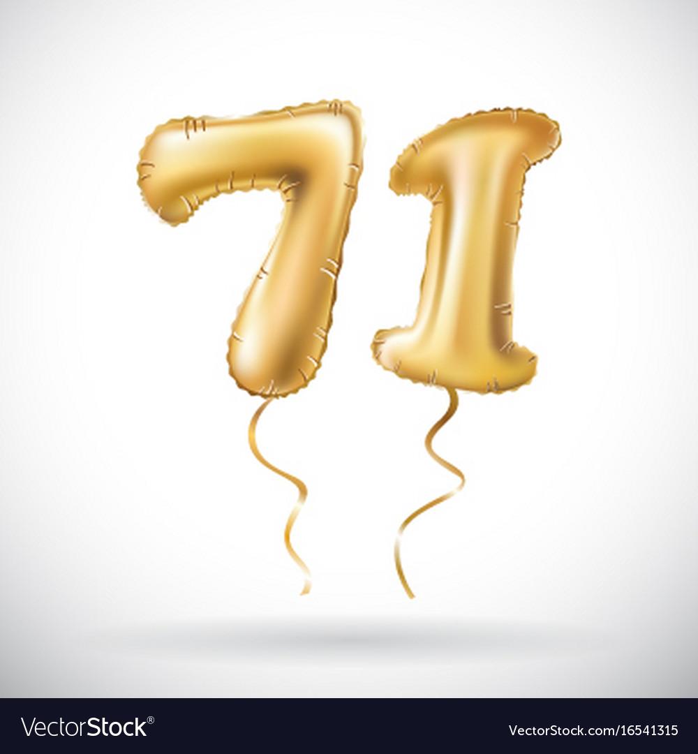 Golden number 71 seventy one metallic balloon