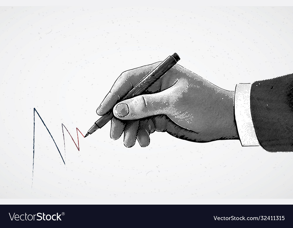 hand holding a pencil and drawing a line is vector image
