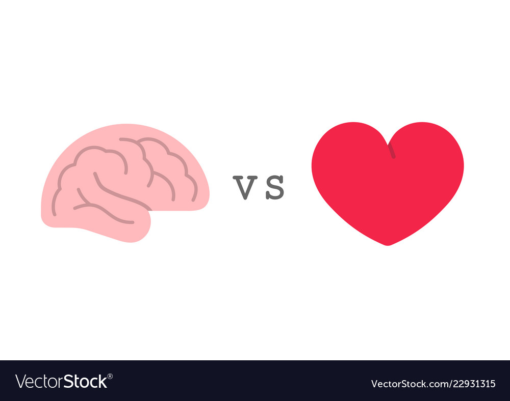 Heart vs brain logic and feel choice concept