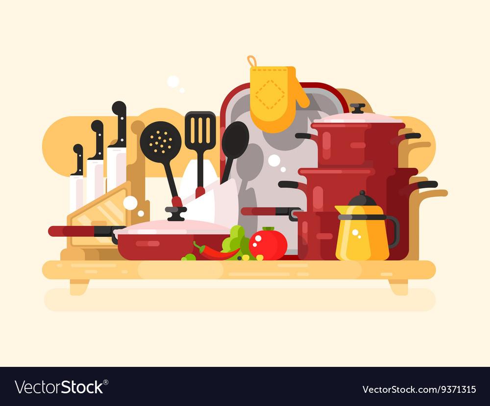 Kitchen dishes design flat vector image