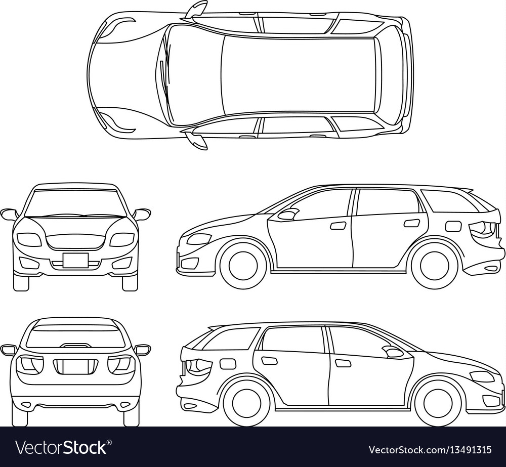 Line drawing of car white vehicle computer