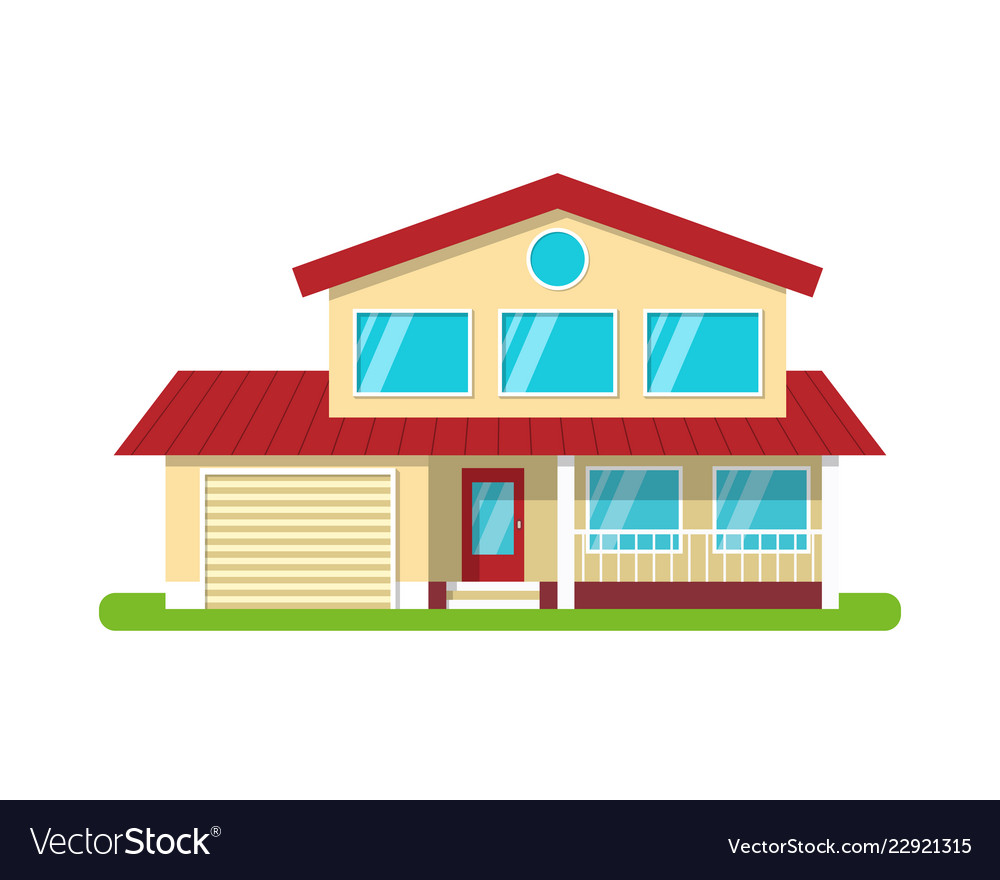 Modern cottage house front view isolated