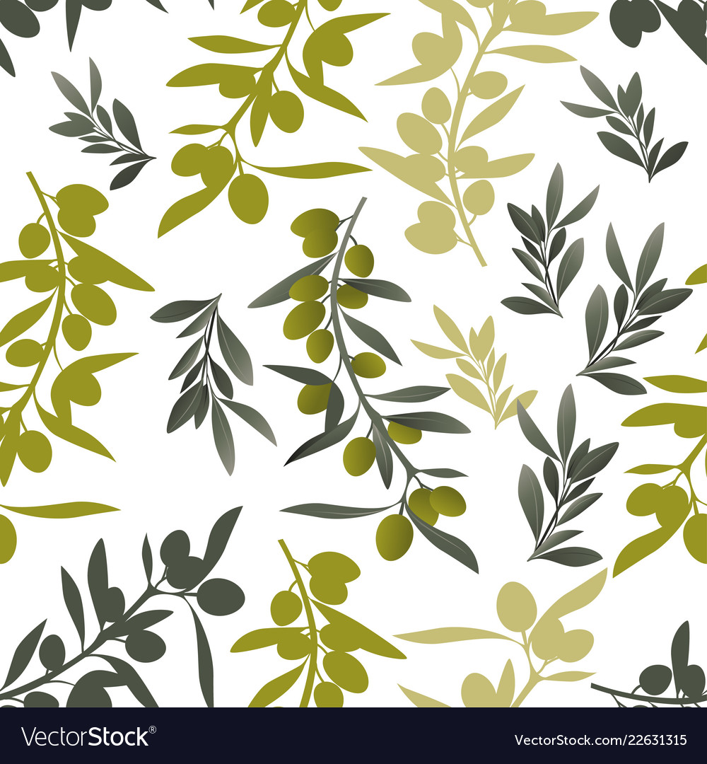 Seamless pattern of olive branches mediterranean