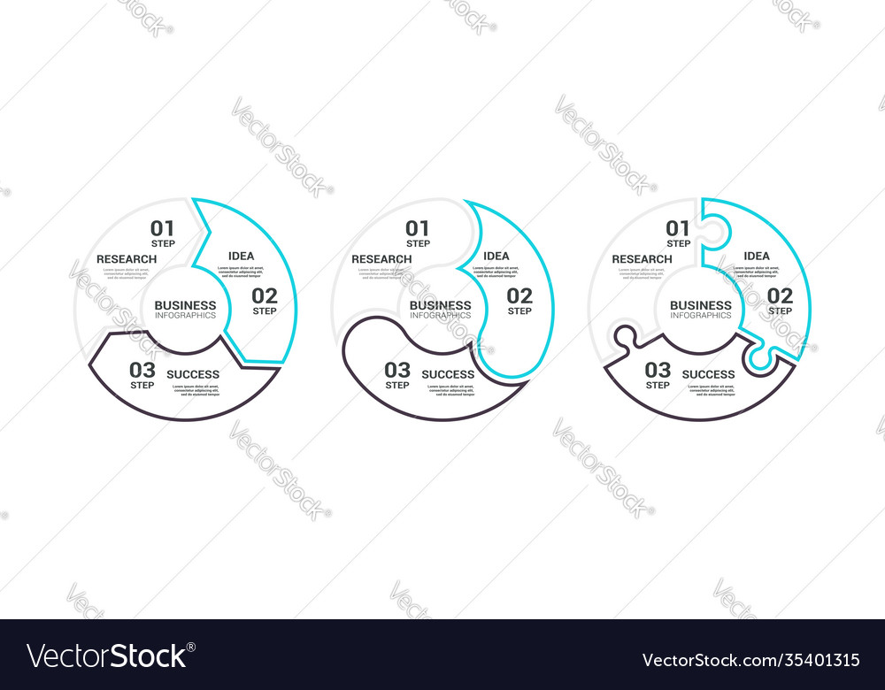 Thin line flat round chart infographic template