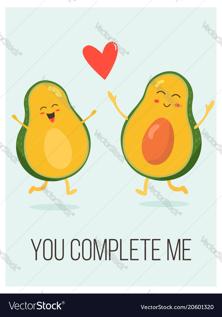 bright poster with cute avocado couple and saying vector image