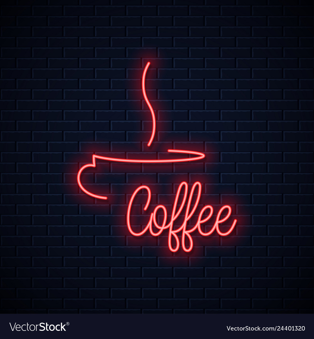 Coffee cup neon sign coffee neon lettering
