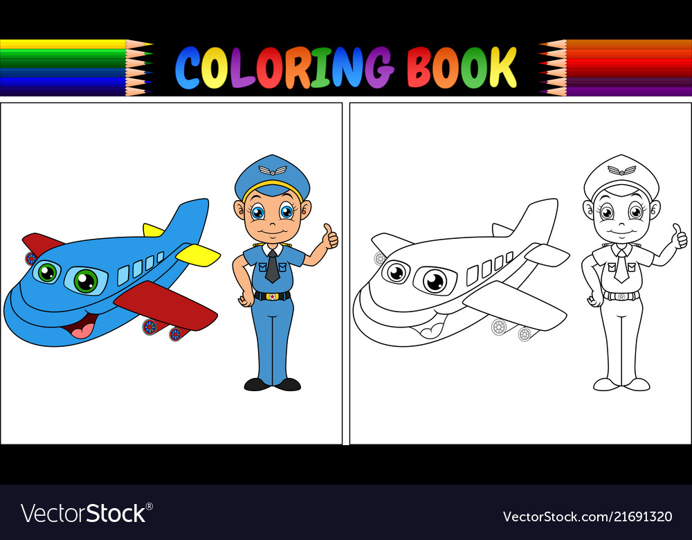 - Coloring Book With Pilot Kid And Airplane Vector Image