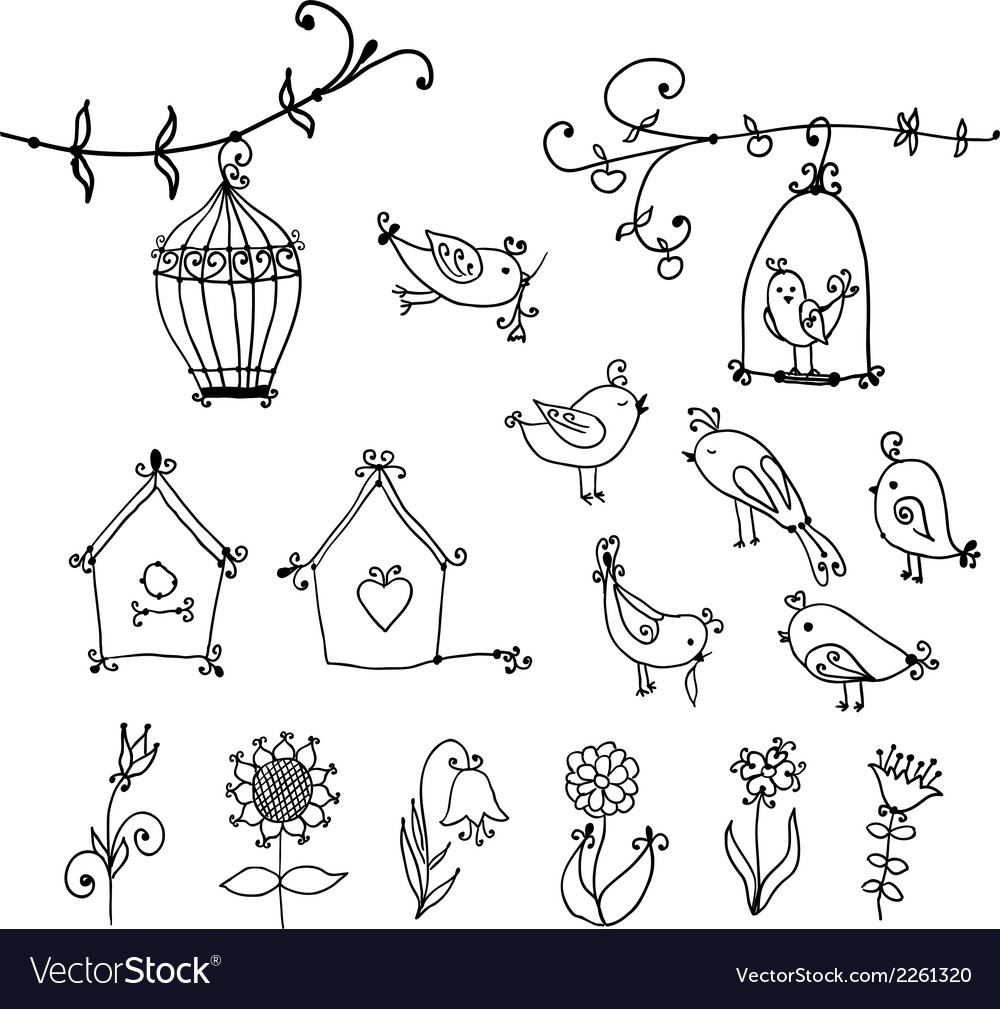 Cute birds tree and and birds nesting boxes