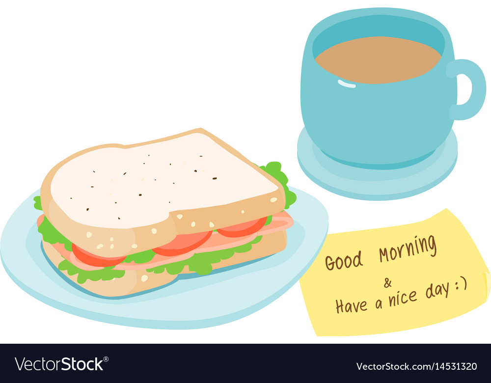 Ham sandwich and hot coffee vector image