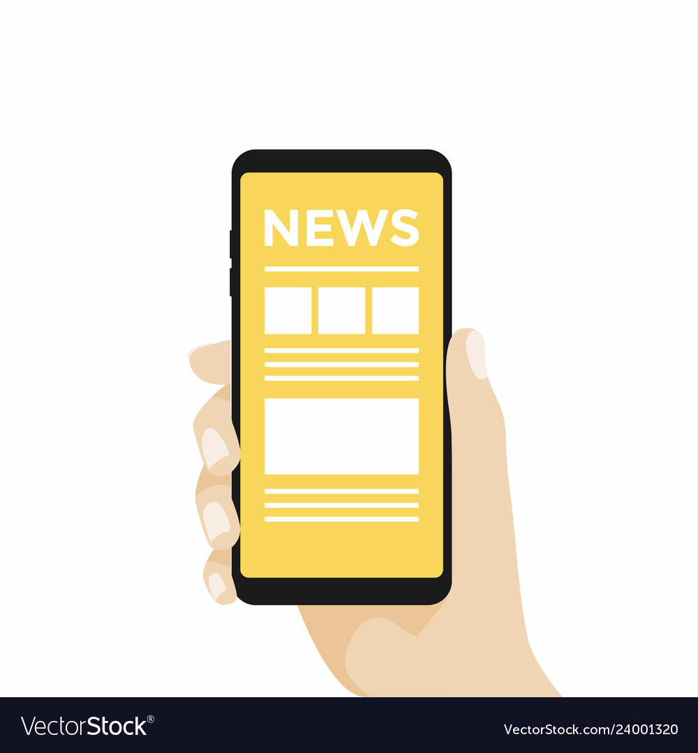 Hand holding smartphone with online news