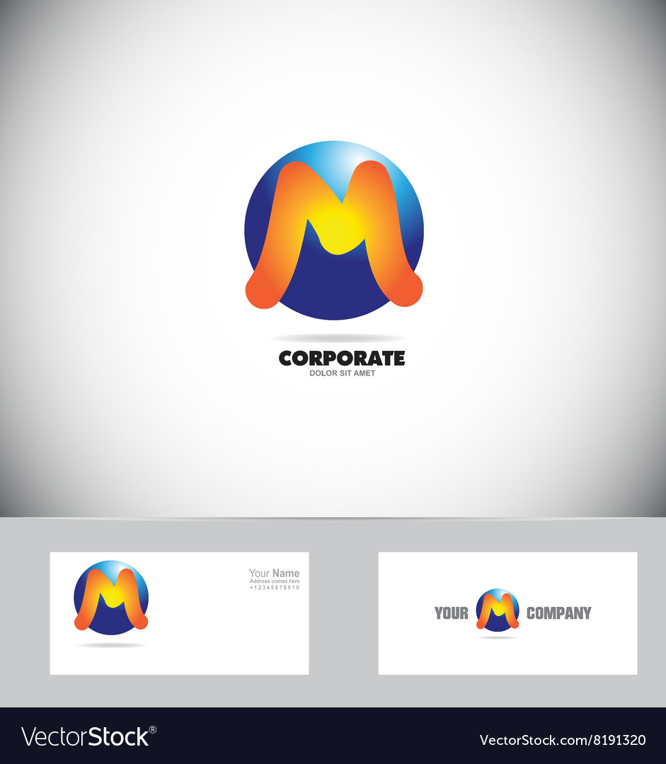 Letter M logo sphere icon vector image