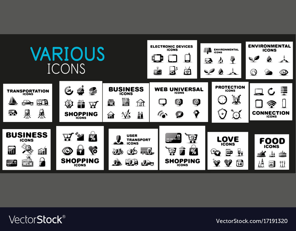 Mega collection of black web icons