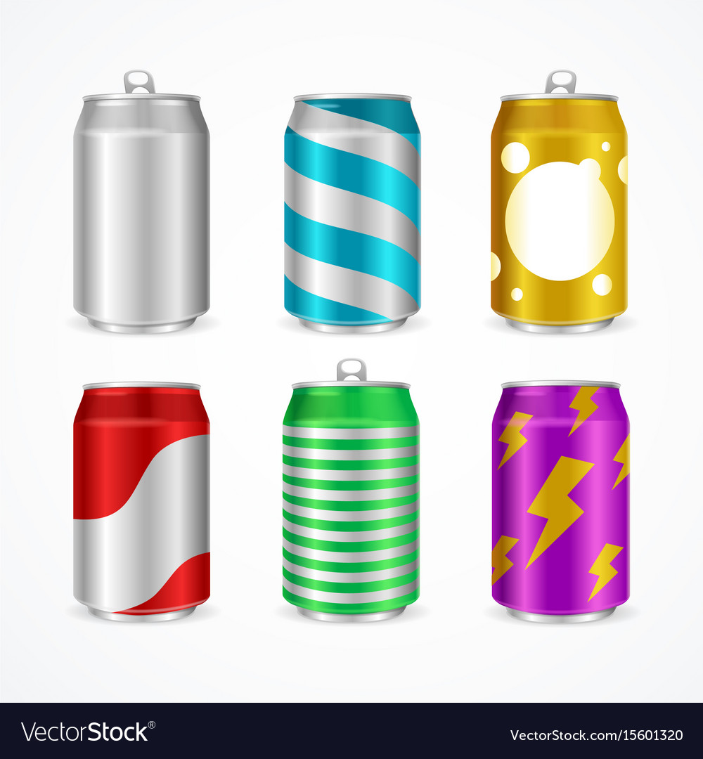 Realistic aluminum cans color empty set vector image