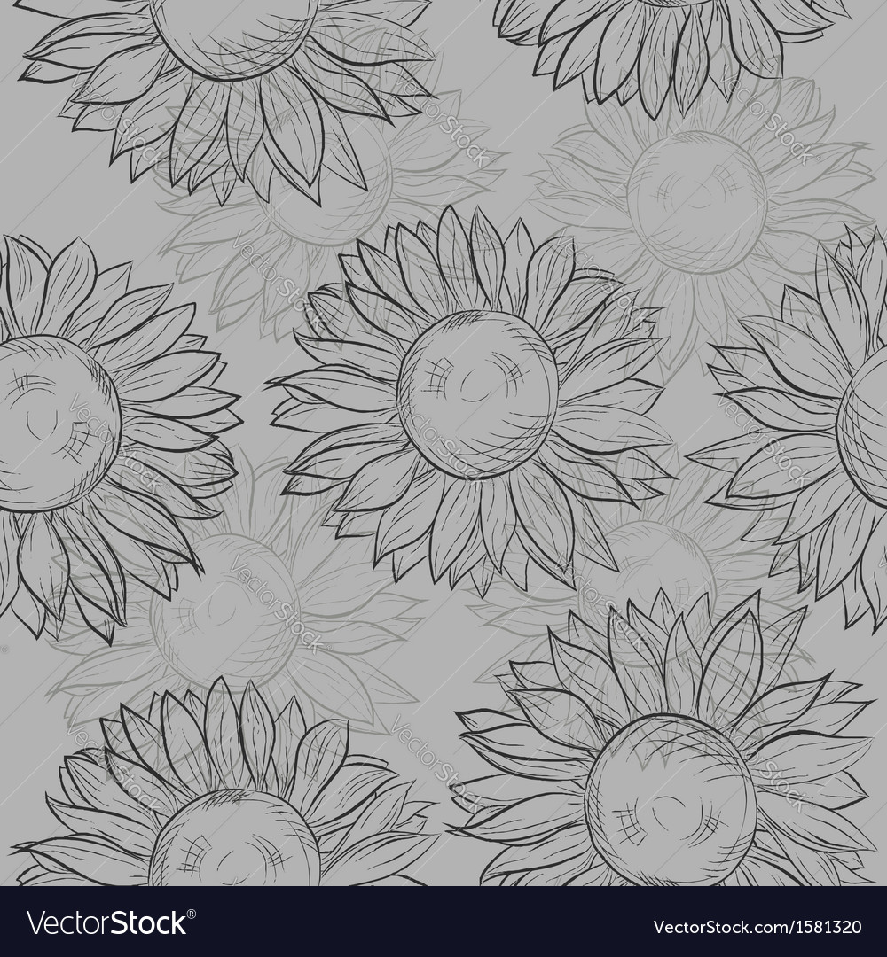Seamless pattern sunflowers Abstract gray black