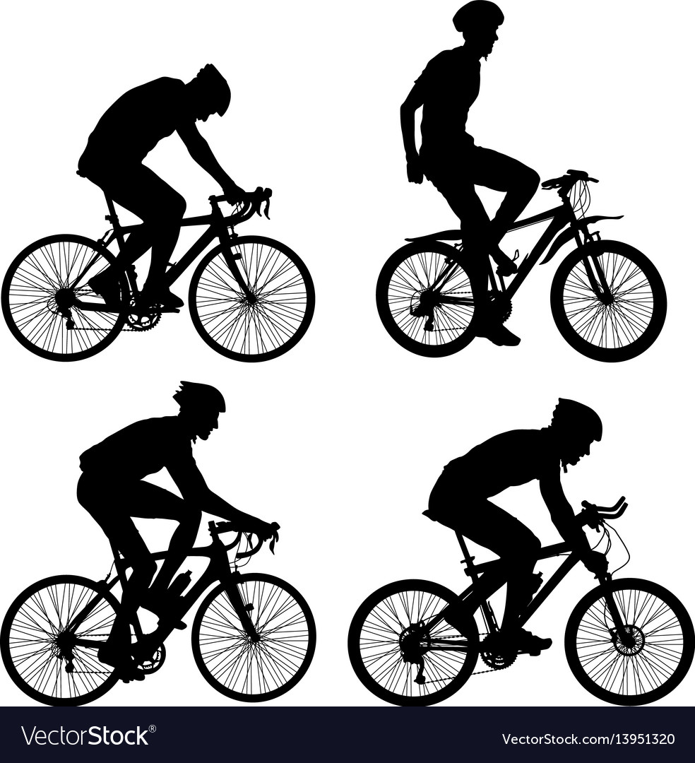 Set silhouette of a cyclist male