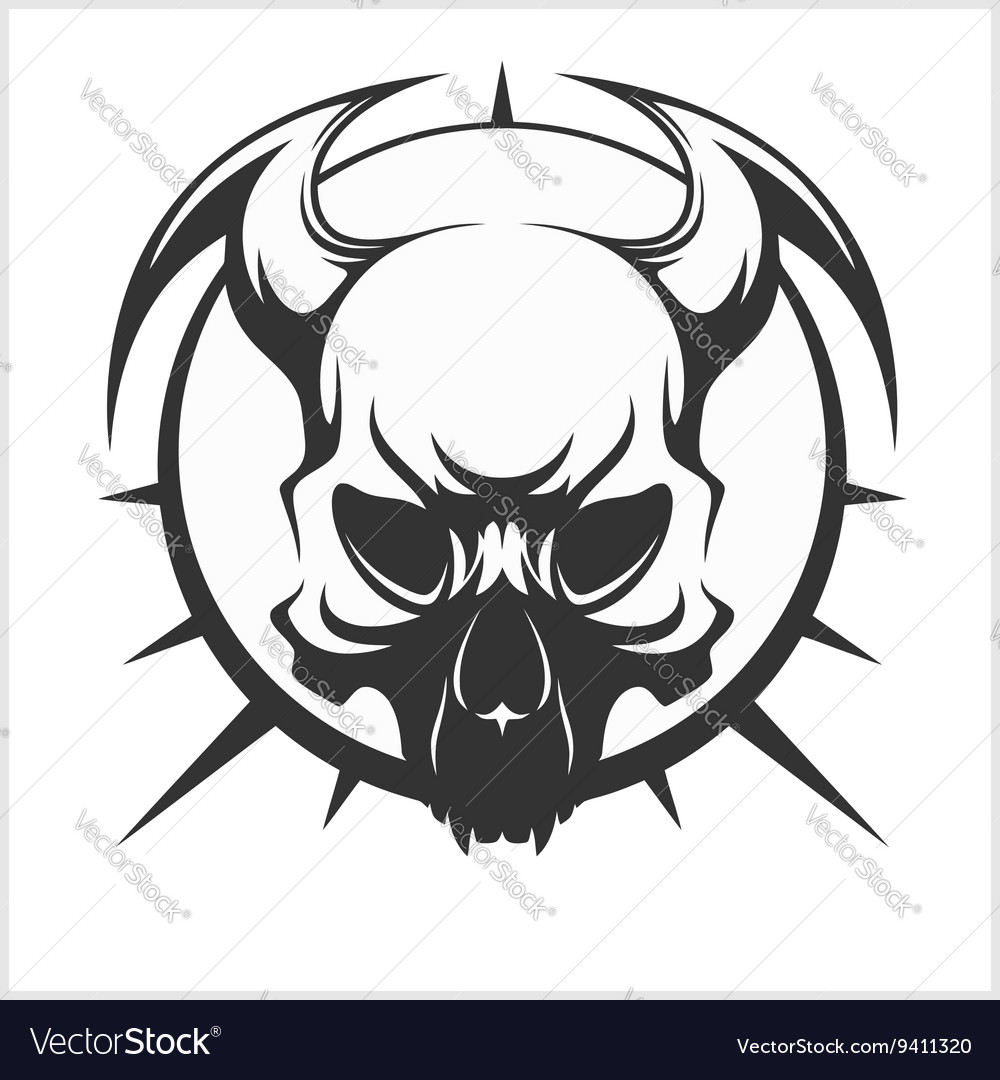 Skull Tattoo And Tribal Design Isolated On White