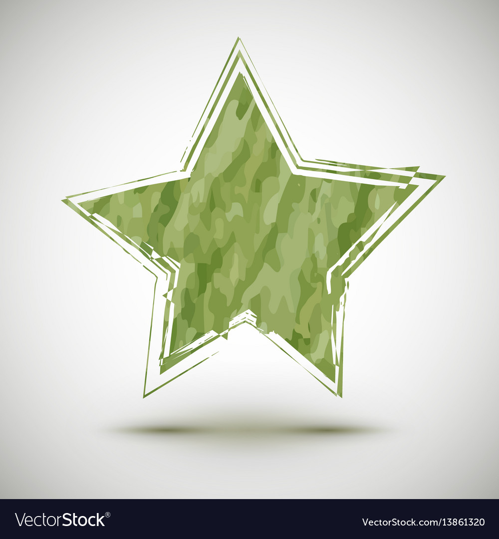 With grunge camouflage star vector image