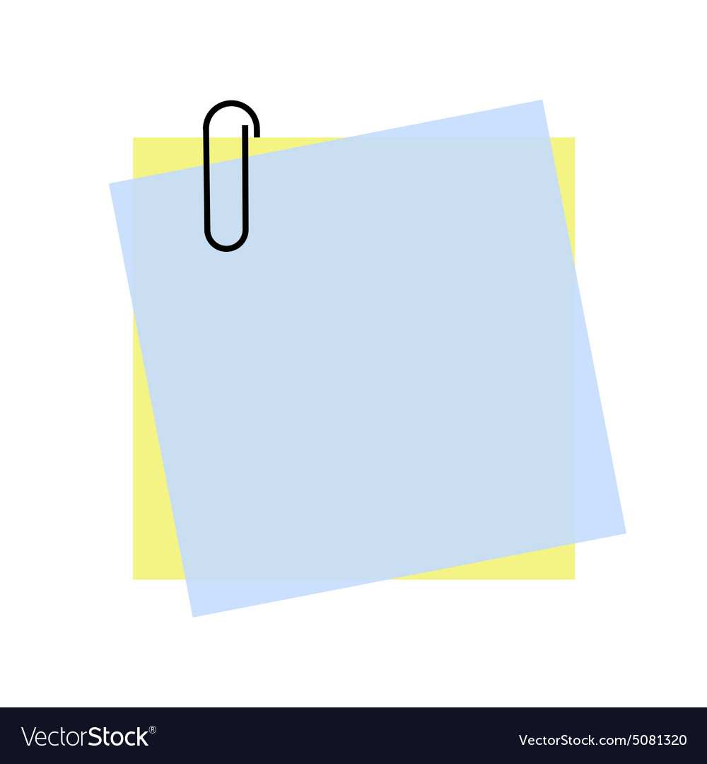 Yellow and blue sticky note with paper clip eps 10 vector image