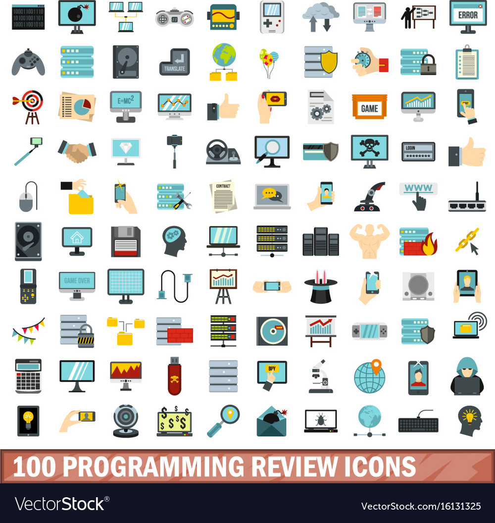 100 programming review icons set flat style