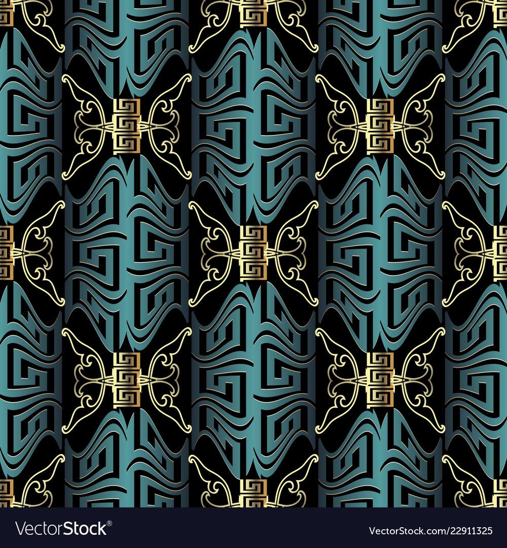 Beautiful modern 3d greek seamless pattern