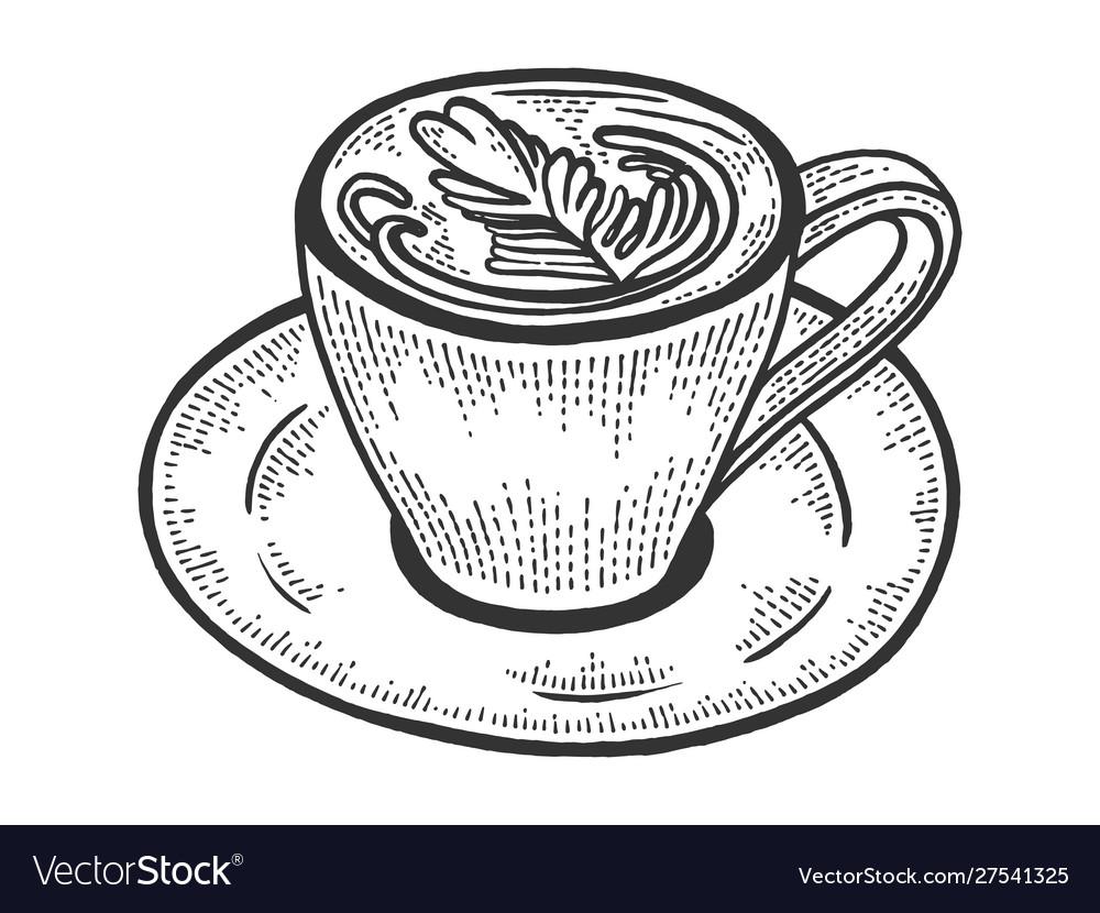 Cup latte art heart sketch engraving