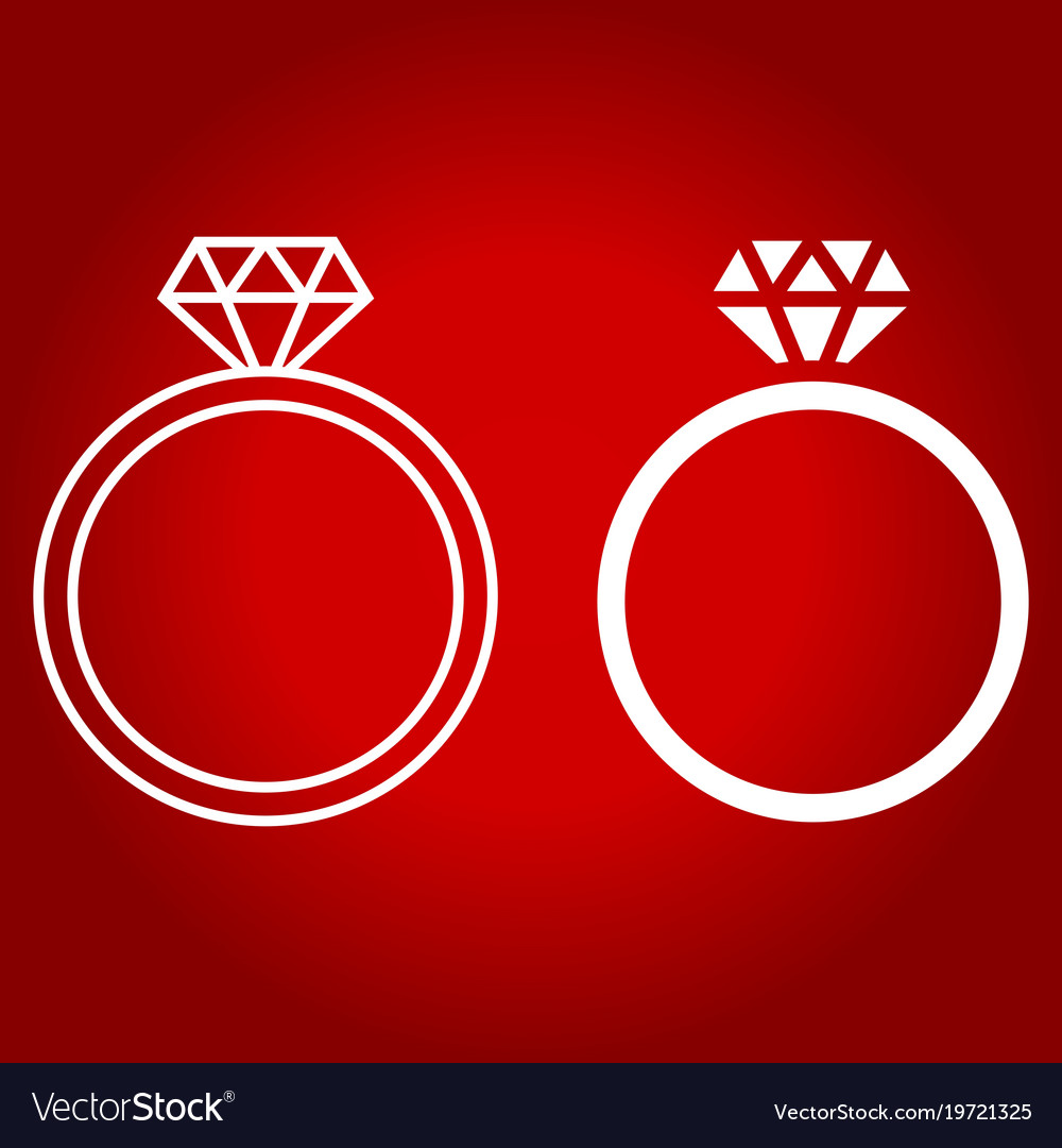 Diamond ring line and glyph icon
