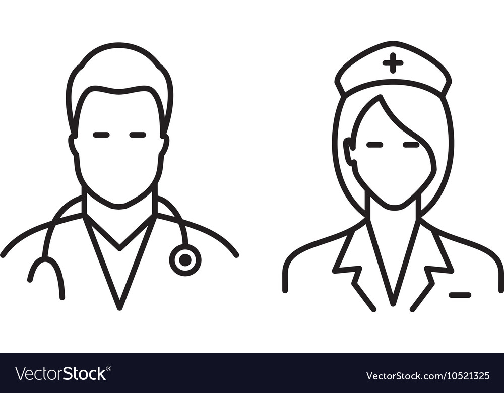 Doctor and nurse icons vector image