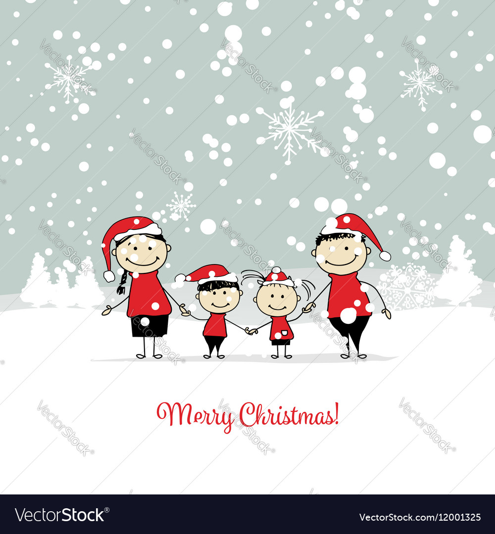 Happy family christmas card for your design Vector Image