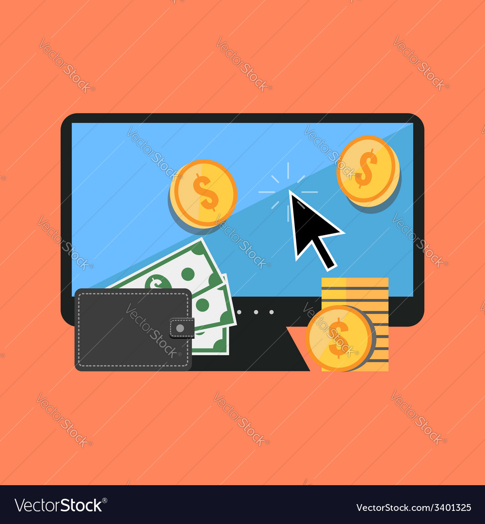 Making money online concept Flat design stylish vector image