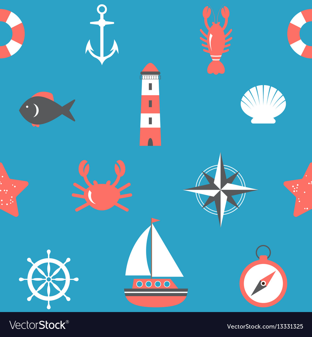 Marine seamless pattern nautical background sea