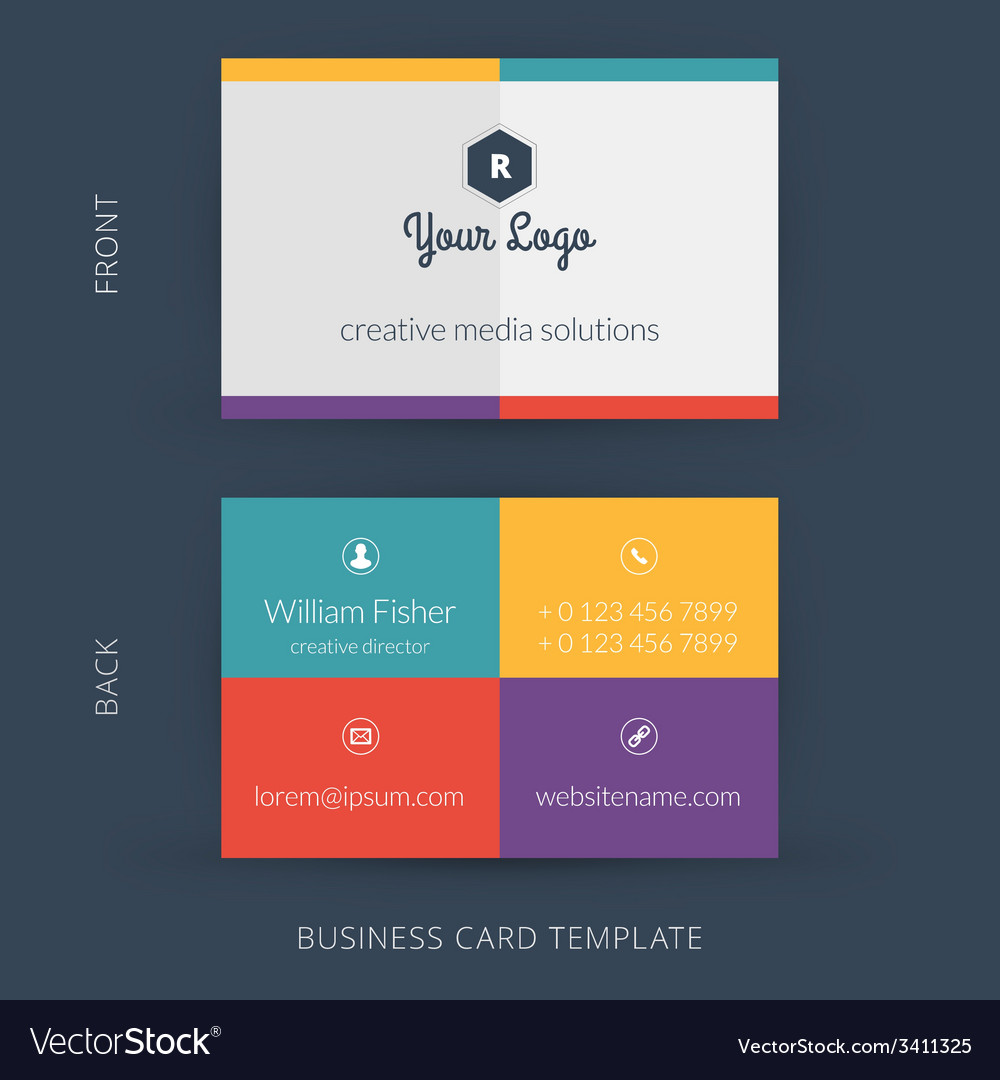 Modern creative business card template flat design modern creative business card template flat design vector image wajeb