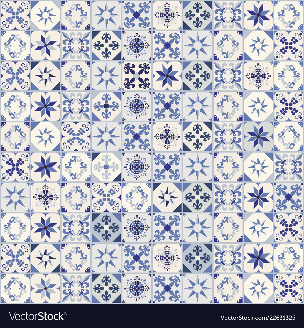 Seamless pattern of hydraulic tiles typical of