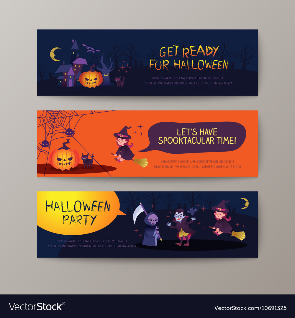Set of happy Halloween banners background