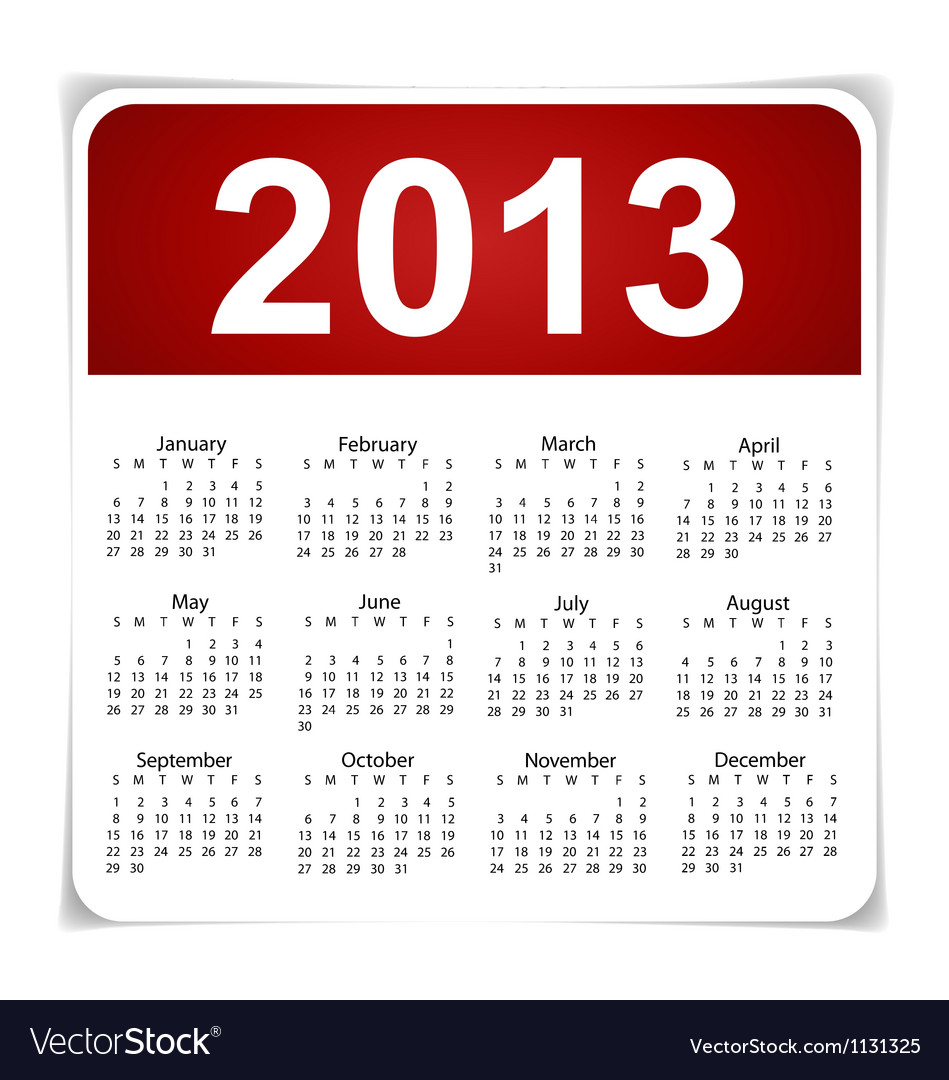 simple 2013 year calendar royalty free vector image