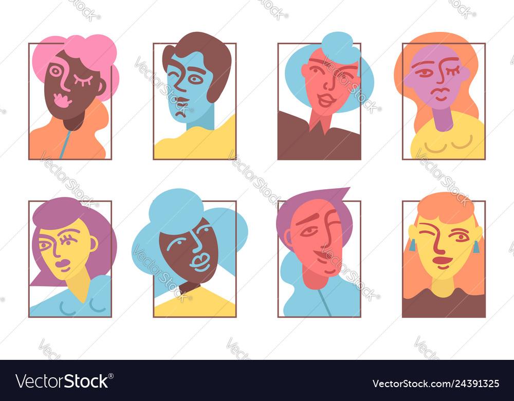 Strange people avatar icons set flat