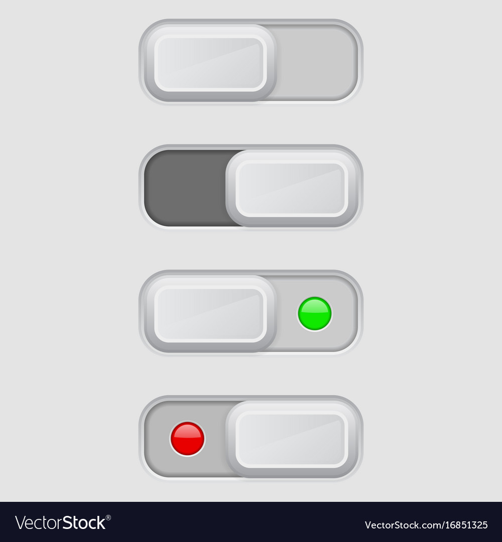 Toggle Switch Set On And Off Buttons Royalty Free Vector