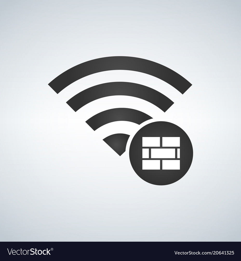 Wifi connection signal icon with firewall or