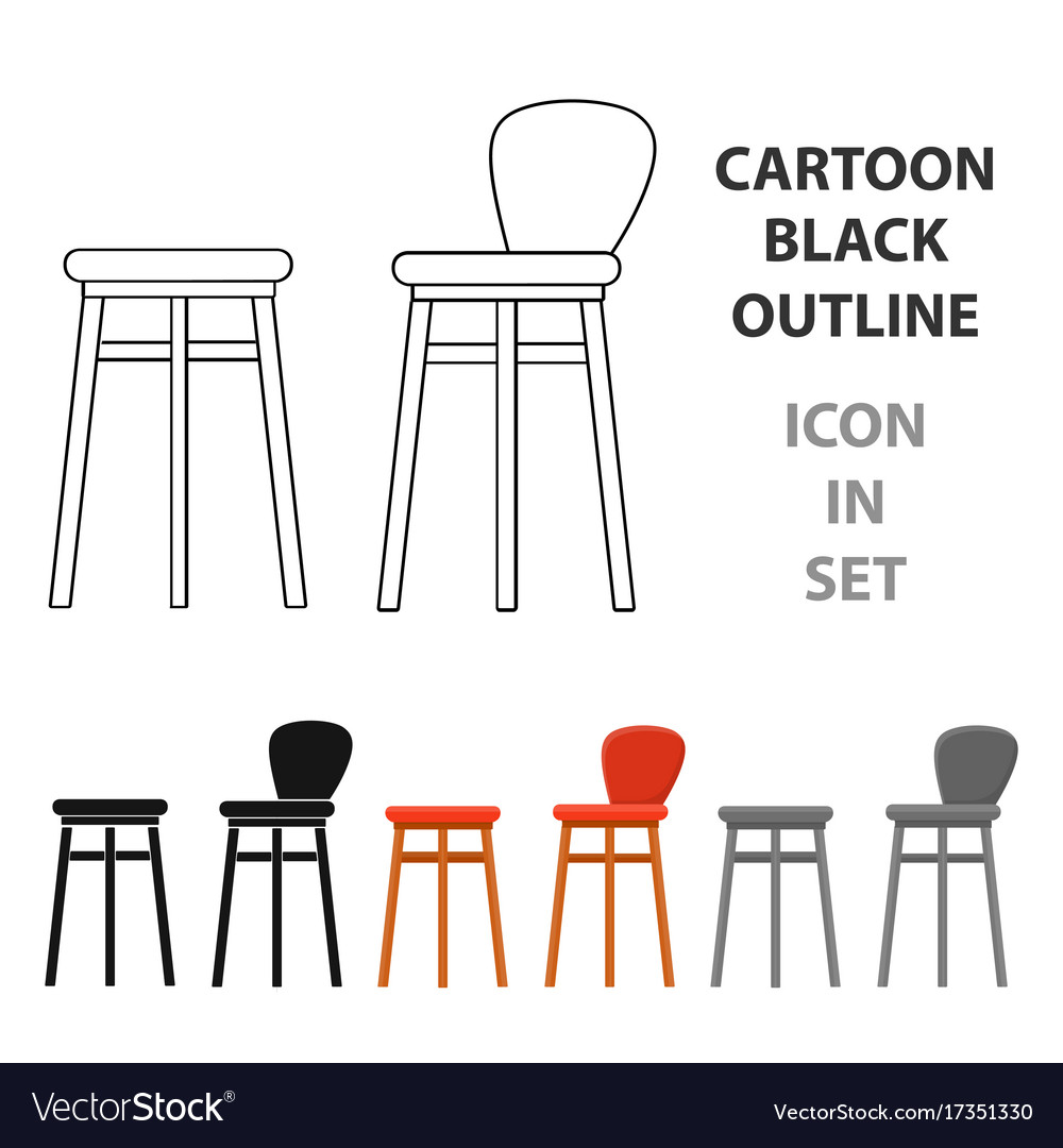 Bar stool icon in cartoon style isolated on white