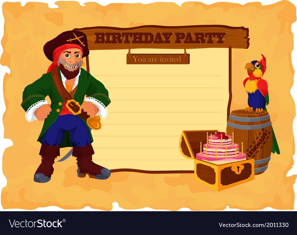 Birhday party card with pirate