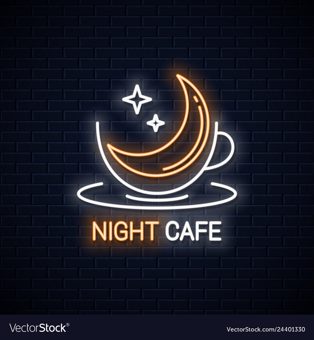 Coffee cup logo night coffee with moon linear