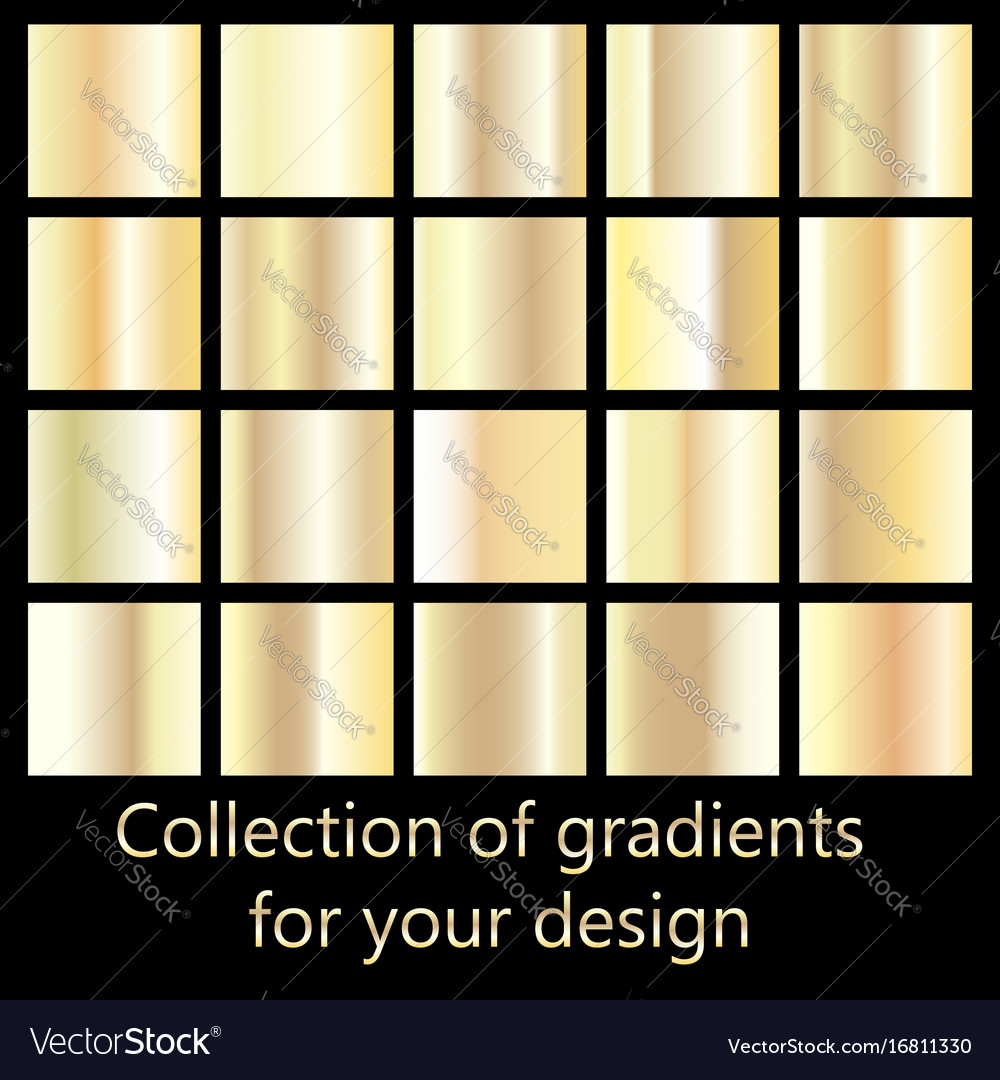 Collection of golden gradient backgrounds set of