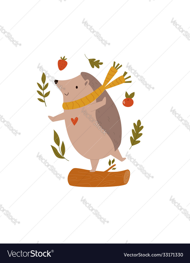 Funny hedgehog in scarf dancing on a log forest