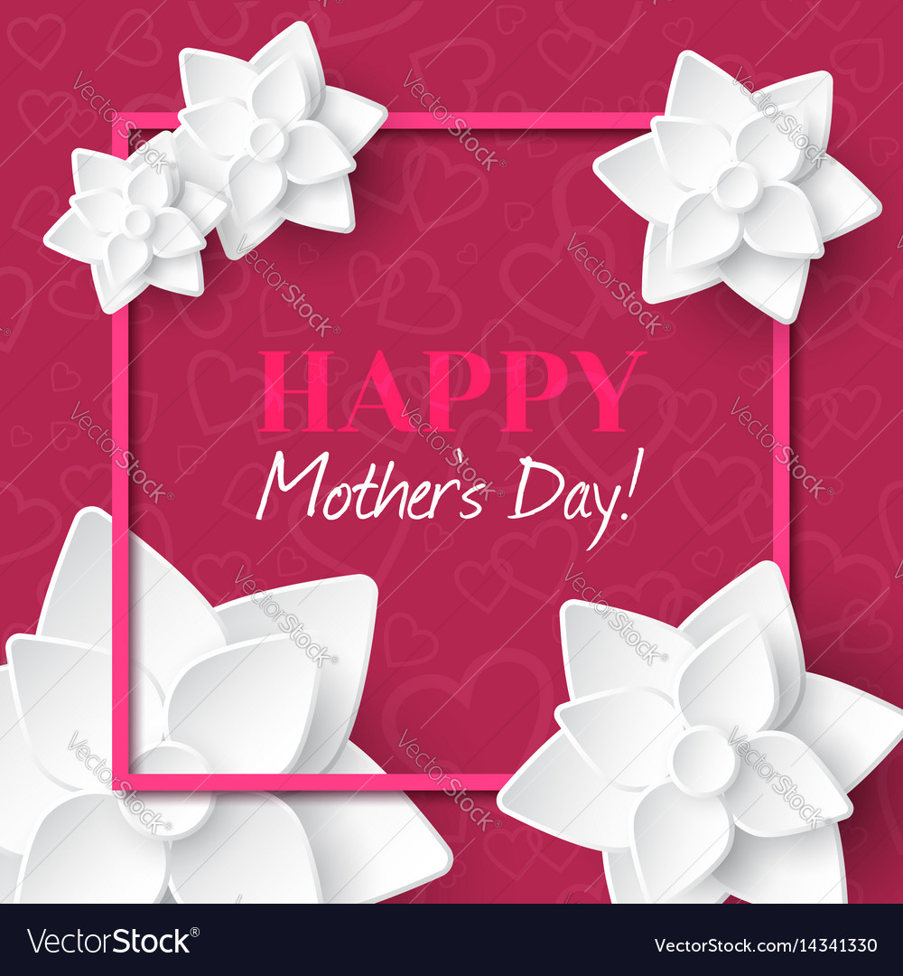 Happy mothers daygreeting card with white flowers