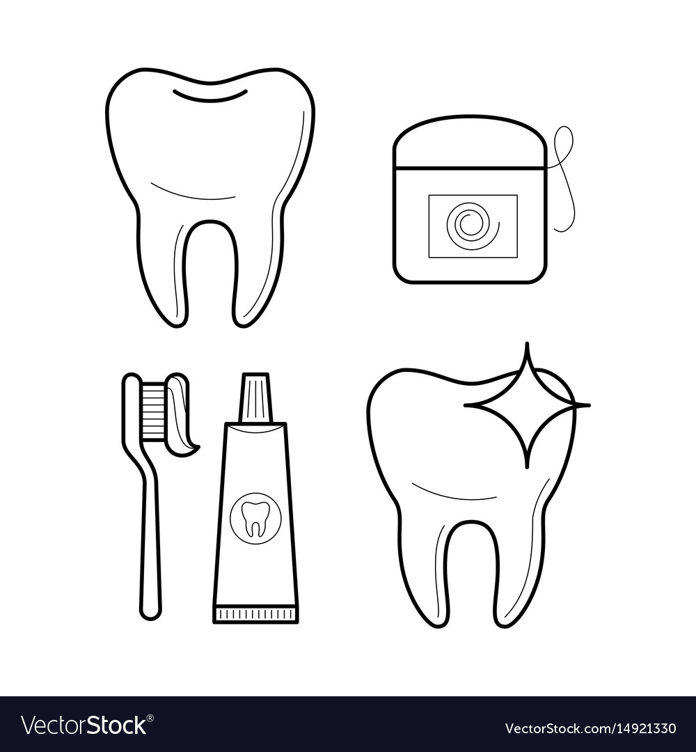 Icons of toothbrush toothpaste and floss