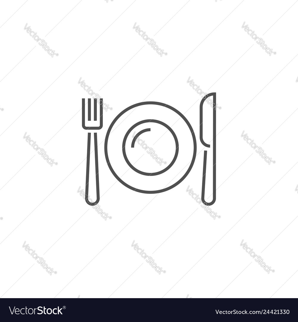 Plate fork and knife related line icon