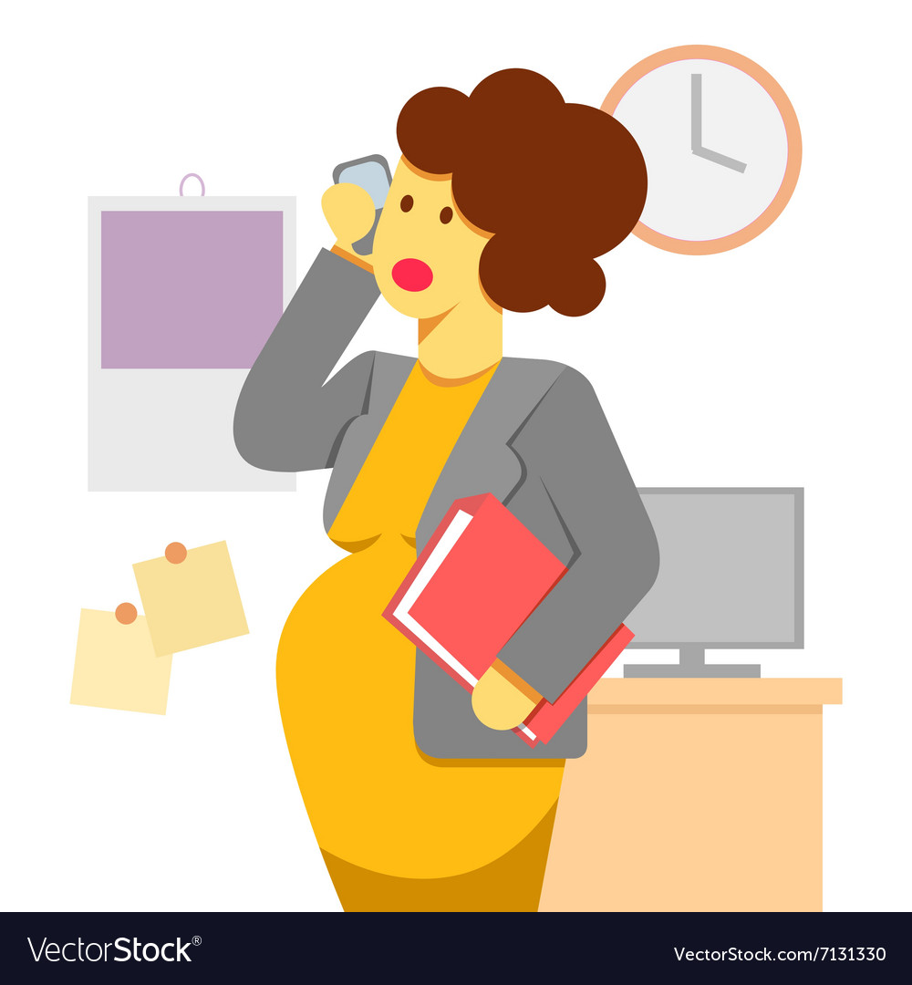 Pregnant woman working