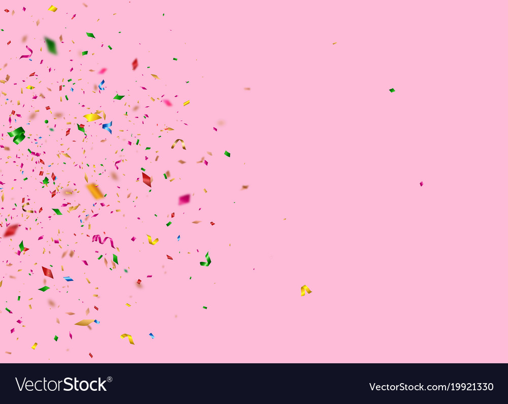 Shiny falling confetti pieces on pink background