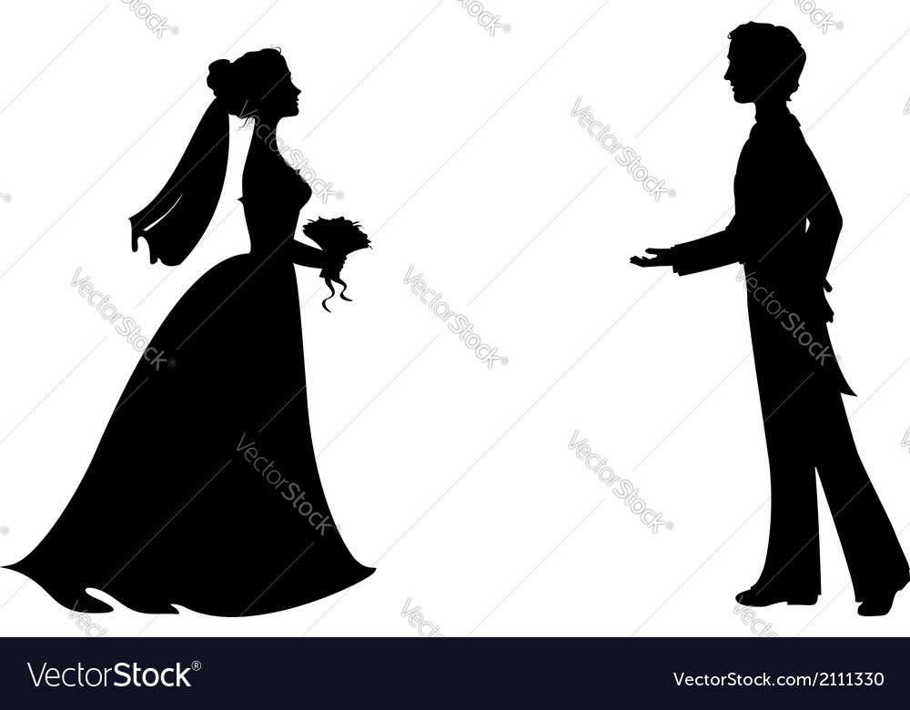 silhouettes of bride and groom royalty free vector image rh vectorstock com muslim bride and groom vector bride and groom cartoon vector