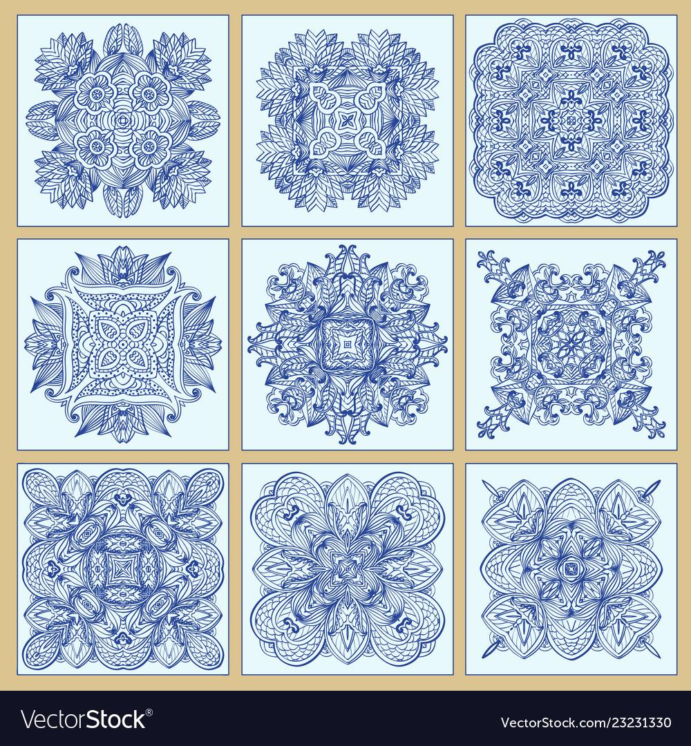 Traditional portuguese tiles azulejos set